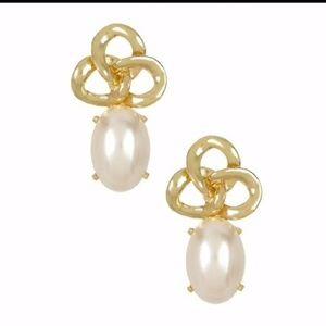 Faux Pearl and Chain Knot Lock Earrings- Pierced
